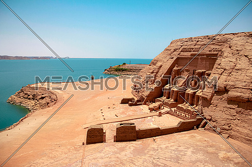 Long shot for Abu Simbel Temple in Aswan in Egypt at Day