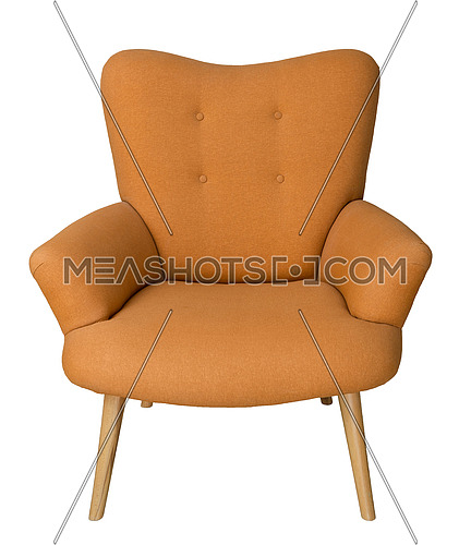 Vintage Furniture: French orange wingback armchair with wooden legs isolated on white background including clipping path