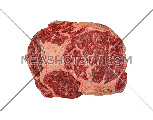 Close up one marbled raw ribeye beef steak isolated on white background, elevated top view, directly above