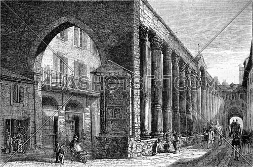 Milan columns of San Lorenzo, vintage engraved illustration. Magasin Pittoresque 1870.