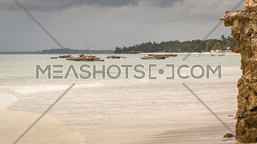 Pictured fishing ships anchored in the bay to the island of Zanzibar, Tanzania.