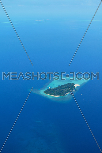 aerial view of tropical beach nature landscape scene with white sand at summer Maldives