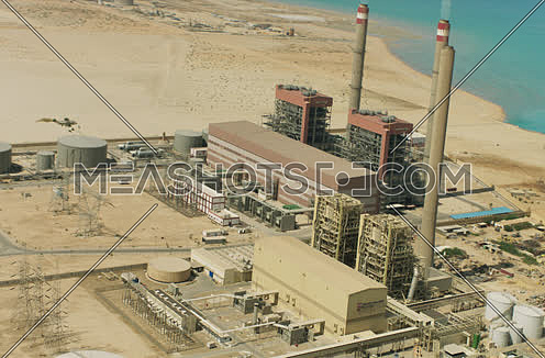 Arial shot around a Factory at Suez at day