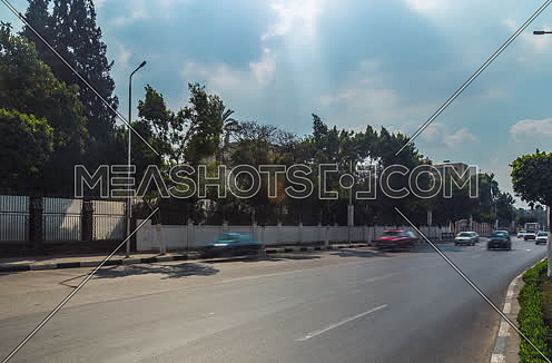 Zoom Out Shot for traffic at Salah Salim Street at Daytime