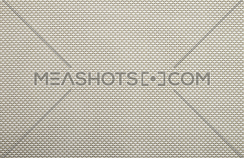 Background texture of horizontal white and vertical gray wicker braided plastic double strings with small mesh