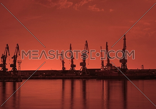 Baku port at night
