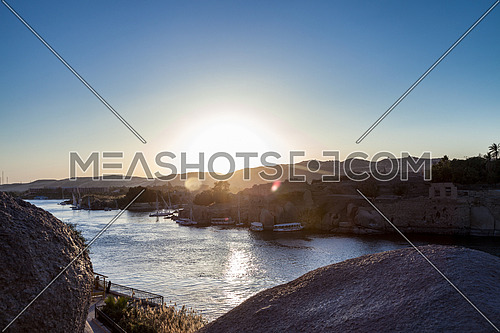 Panorama Shot for the River Nile in Aswan at sunset