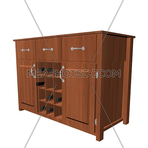 Classic wooden cabinet with wine rack, 3D illustration, isolated against a white background