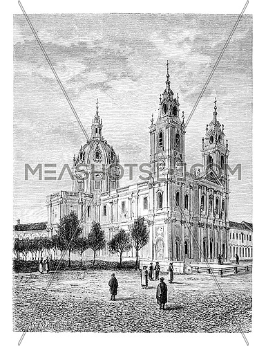 Basilica of the Sacred Heart of Jesus of Estrela in Lisbon, Portugal, drawing by Catenacci based on a photograph, vintage engraved illustration. Le Tour du Monde, Travel Journal, 1881