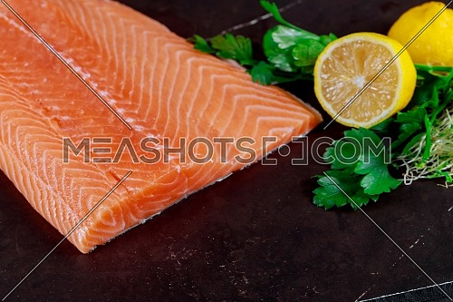 Raw salmon fillet and ingredients for cooking on dark backgroundt top view