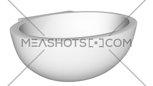 Modern egg-shapped washbasin or sink, isolated against a white background.