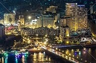 Birds eye view of Cairo nile at night