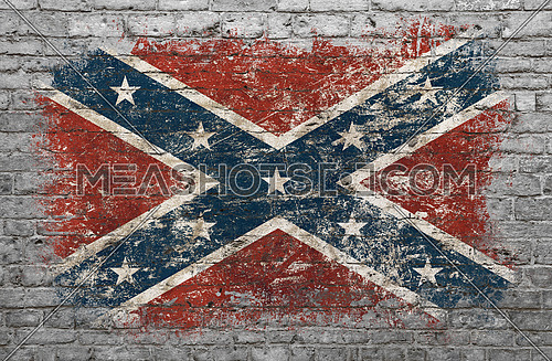 Grunge distressed flag of USA confederate painted on old weathered grey brick wall
