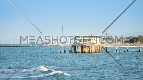 Fishing hut with typical italian fishing machine, called