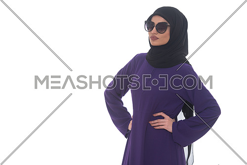 Fashion Portrait Of Young Beautiful Muslim Woman With Black Scarf And Sunglasses Isolated On White Background