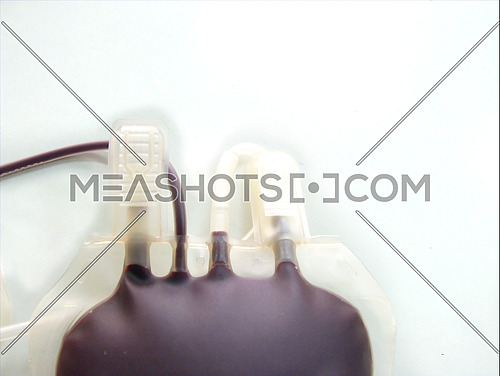 blood donate bag on white background