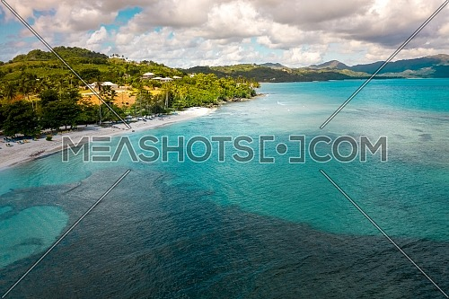 Drone view of tropical beach.Samana peninsula,Playa(beach) Rincon beach,Dominican Republic.