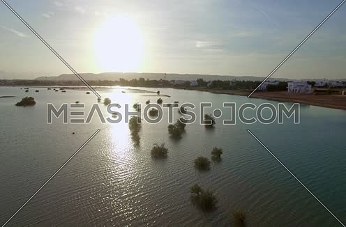 Drone shot flying through Al Gouna  at sunset