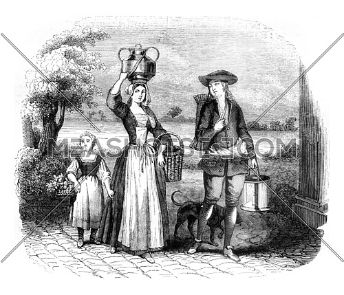 A merchant forgotten, vintage engraved illustration. Magasin Pittoresque 1845.