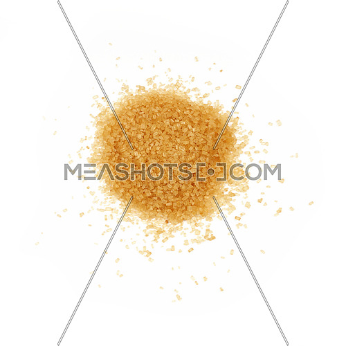 Pinch of brown cane sugar spilled around isolated on white background, close up, elevated top view