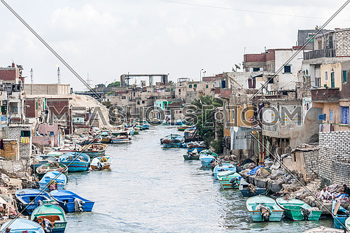 Boats parked on Nile river banks at Elmax area in alexandria when the Nile river meets the mediterranean sea