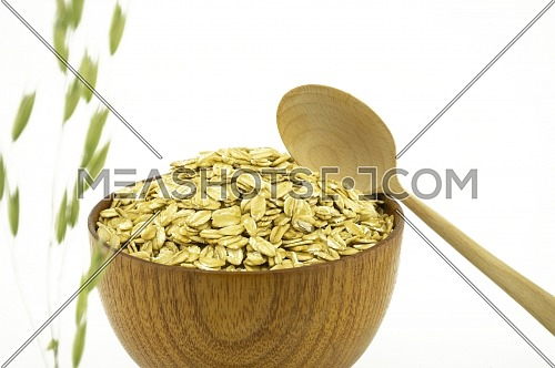 Green ear of oats with bowl of cereal in the background isolated on white with copy space and spoon in a healthy diet concept