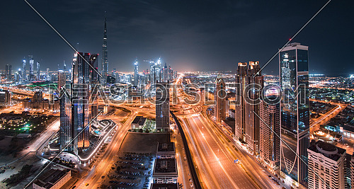Dubai  Burj Khalifa with Downtown Towers