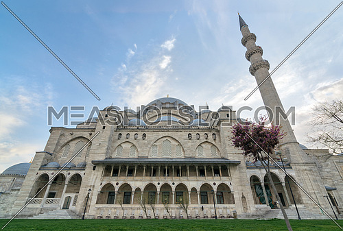 Exterior low angle day shot of Suleymaniye Mosque, an Ottoman imperial mosque located on the Third Hill of Istanbul, Turkey, and the second largest mosque in the city. built in 1557, designed by architect Sinan