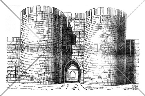 Gate of the city of Aigues-Mortes, vintage engraved illustration. Magasin Pittoresque 1841.