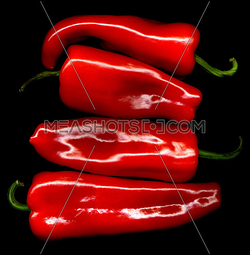 red paprika or paprica on black background