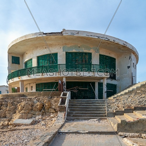 External shot of an old house by the Mediterranean Sea at Montaza park, known as the villa of Mr Hussein El Shafei late vice president of Egypt