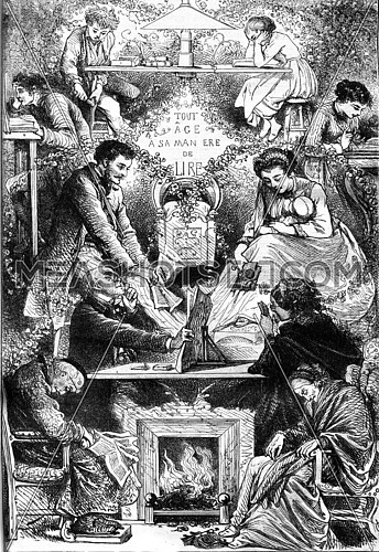 Each age in his way of reading, vintage engraved illustration. Magasin Pittoresque 1869.