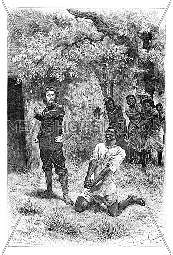 Aogousto Begs for Mercy in Front of Major Serpa Pinto in Angola, Southern Africa, drawing by Bayard based on a sketch and writings by Serpa Pinto, vintage engraved illustration. Le Tour du Monde, Travel Journal, 1881