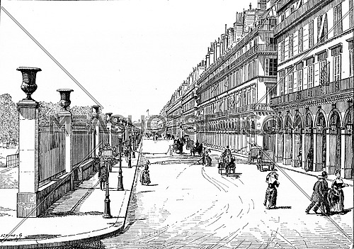 Rue de Rivoli, vintage engraved illustration. Paris - Auguste VITU – 1890.