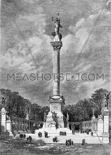 Project column of 5 May 1789, by Messrs. Fornige, architect, and Jules Coutan, sculptor, vintage engraved illustration. Magasin Pittoresque 1882.