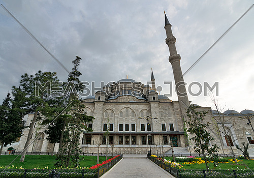 Exterior low angle shot of Fatih Mosque before dusk. An Ottoman imperial mosque located Fatih district, Istanbul, Turkey
