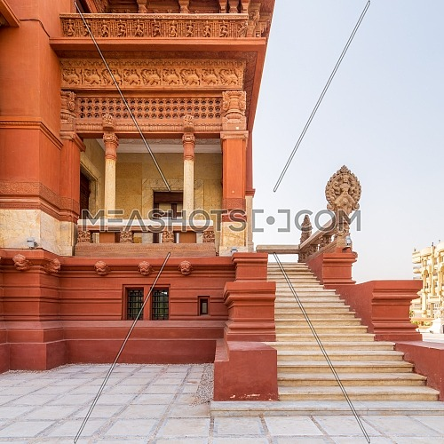 Staircase leading to balcony at Baron Empain Palace, a historic mansion inspired by the Cambodian Hindu temple of Angkor Wat, located in Heliopolis district, Cairo, Egypt