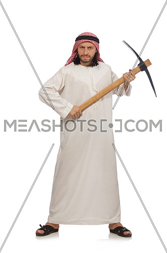 Arab man with ice axe isolated on white