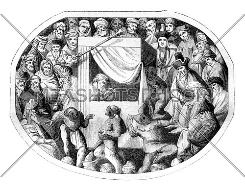 Miniature of the fourteenth century, A theatrical representation contained, vintage engraved illustration. Magasin Pittoresque 1842.
