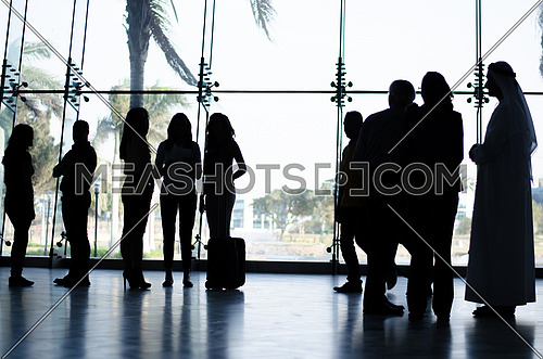 A Silhouette view of people groups in business meetings