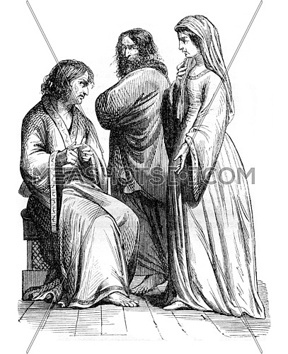 Civil suits under Charles the Bald, vintage engraved illustration. Magasin Pittoresque 1843.