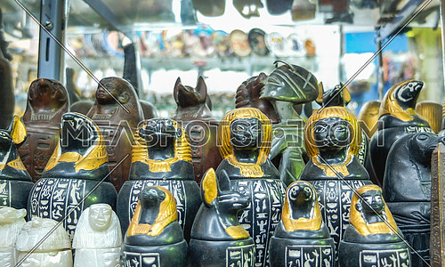 pharaonic figures in a shop display