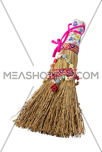 Small ornate broom isolated on white