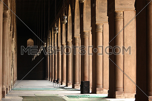 a photo from inside Ahmed bin Tolon Mosque in old Cairo, Egypt showing the style of Architecture used at that time