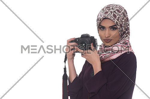 Arab Woman Photographer Holding A Dslr Camera Isolated On A White Background