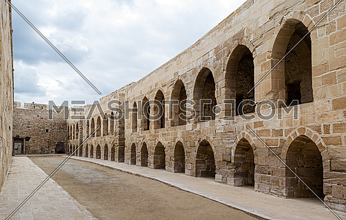 An open court at an old citadel in Alexandria, Egypt. A 15th-century defensive fortress located on the Mediterranean sea coast, established in 1477 AD (882 AH)