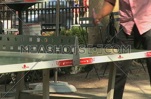 Medium shot for an adult males playing Ping pong in the park in new York City at day.