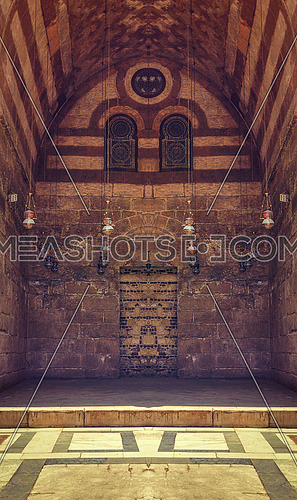 One of the corridors of the mosque Moez in cairo at day