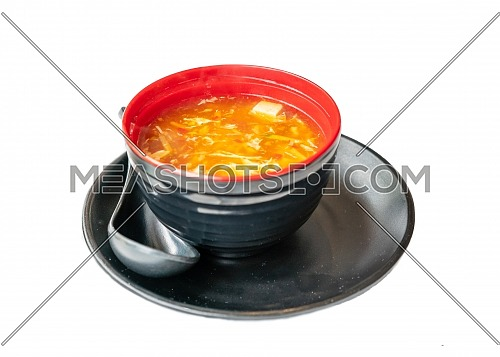 Hot and Sour Soup on white background.