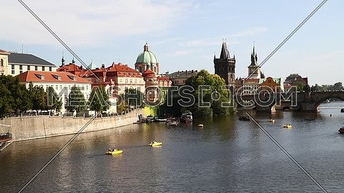 High angle panoramic view of Prague old town and Charles Bridge over Vltava river sunny day